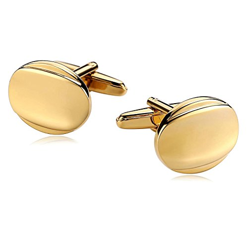 KnSam Stainless Steel Cufflinks for Mens Smooth Face Oval Shape - Face Oval Shape Men