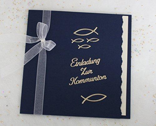 5 Einladungskarten zur Kommunion Einladung incl. Umschlag dunkelblau Schriftzug gold*Handarbeit*