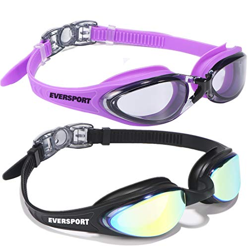 EVERSPORT Swim Goggles, Pack of 2 Swimming Goggles, Anti Fog UV Protection Streamline Design, Soft Nose Piece, 180 Degree Vision, Triathlon Goggles Adult Men Women Youth Teens, Indoor Outdoor …