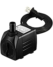 VicTsing [New Version] 400 GPH Submersible Pump, Water Pumps for Fish Aquarium, Fountains, Spout and Hydroponic Systems(25W, 5.9ft Power Cord, Two Nozzles)