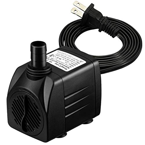Homasy 400GPH Submersible Pump 25W Fountain Water Pump with 5.9ft Power Cord, 2 Nozzles for Aquarium, Fish Tank, Pond, Statuary, Hydroponics ()