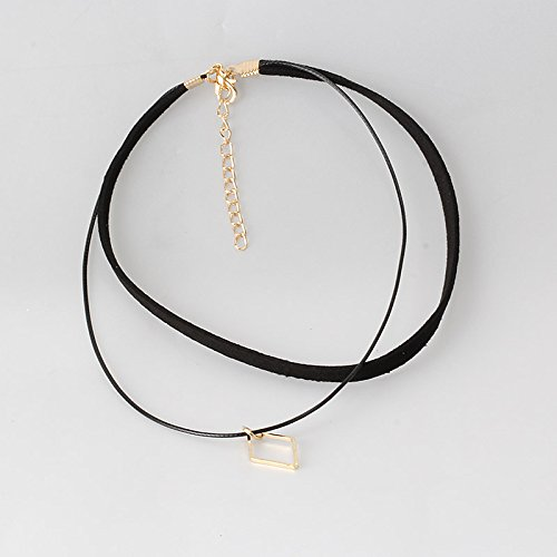 Pyrsun(TM) Women Jewelry Black Double Layer Leather Choker Necklace Elastic Adjustable Lady Patty Neck Accessories with Geometric Pendant by Pyrsun