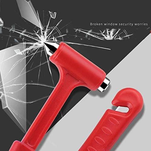 小さなナイフが付いている安全ハンマーは、キャンプツールをクラックしますWindows Essential Essential Accessories-Red
