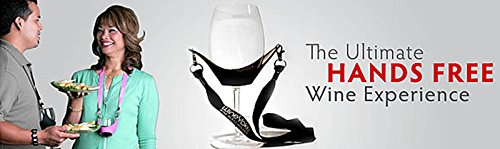 """""""WineYoke"""" Party Time Hand Free Wine Glass Holder Necklace - Set of 2 (PINK & BLACK)"""
