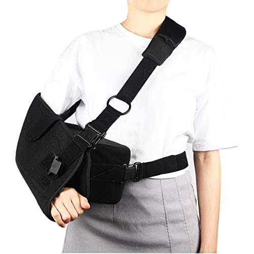 High Medical Arm Sling Support Adjustable Elbow Shoulder Brace Strap, Rotator Cuff Full Soft Immobilize Shoulder Abduction Sling Included with Breathable Pillow by BenKen (High L)
