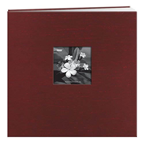 Pioneer Memory Album - Pioneer 12 Inch by 12 Inch Postbound Silk Fabric Frame Front Memory Book, Cranberry