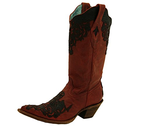 Corral Boots C2146 Blood Red and Black Lizard Cutout Boots (8.5)