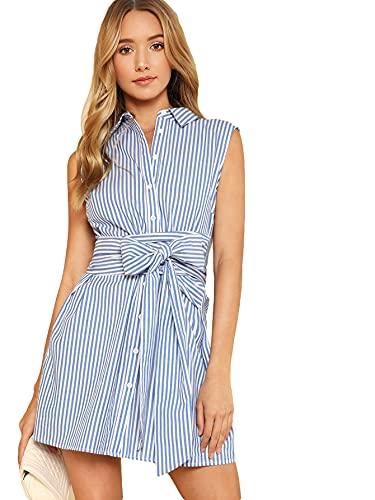 Romwe Women's Cute Sleeveless Striped Print Belted Button Party Short Shirt Dress Blue XL