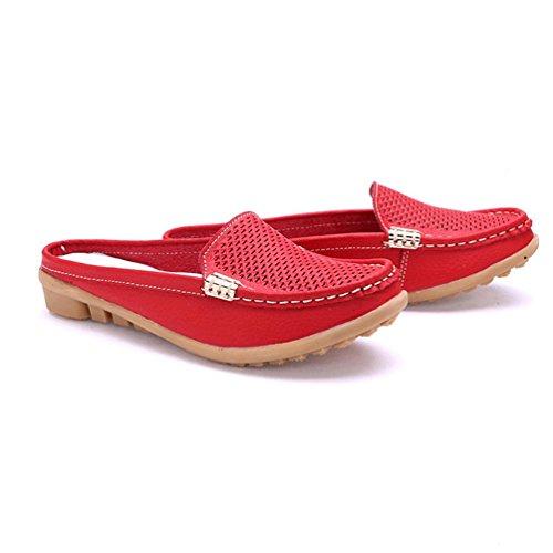 De Cuero MocasíN La Reales Mujer Suave Madre Calzado Rojo De Zapatos Ocio Mocasines De UxffHF