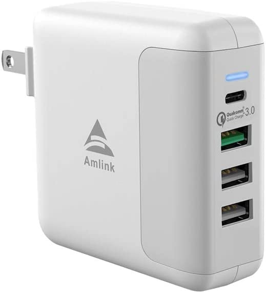 Wall Charger, AMLINK 40W USB Plug, 4-Port QC3.0 USB Fast Charger with Smart Technology and Foldable Plug for iPhone 11/Xs/XS Max/XR/X/8/7, Galaxy S10/S9/S8, Nexus, iPad and More (White)