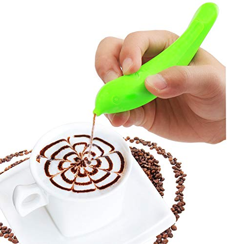 Electric Spice Pen Coffee Art Pen For Latte & Food Art?Make Creative Messages & Drawings With Cinnamon, Coffee Grounds, Cocoa Powder, Ground Sugar (Green)