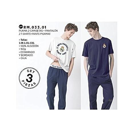 FUTBOL Pijama Real Madrid aulto verano 3 piezas dos camisetas un ...