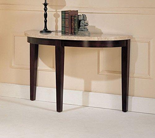Britney White Marble/Walnut Wood Sofa Table w/ Half Moon Top by Acme (Half Moon Marble)