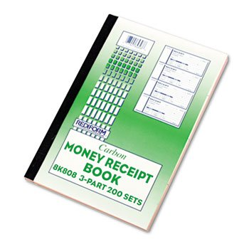 Money Receipt Book, 2 3/4 x 7, Triplicate with Carbons, 200 Sets/Book by Rediform
