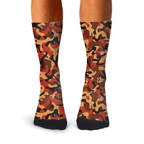 Floowyerion Men's red digital woodland camo Novelty High Sports Socks Crazy Funny Crew Tube Socks