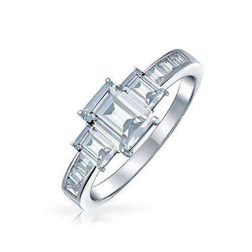 Art Deco Style 2CT Rectangle Emerald Cut 3 Stone Past Present Future Promise CZ Engagement Ring 925 Sterling Silver ()