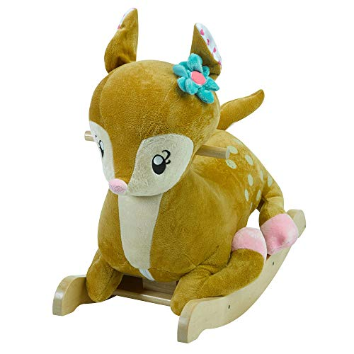 (Petals The Fawn Rocker | Horse Plush Butterfly Baby Toy with Wooden Rocking Chiar Horse/Kid Rocking Toy/Baby Rocking Horse/Rocker/Animal Ride)