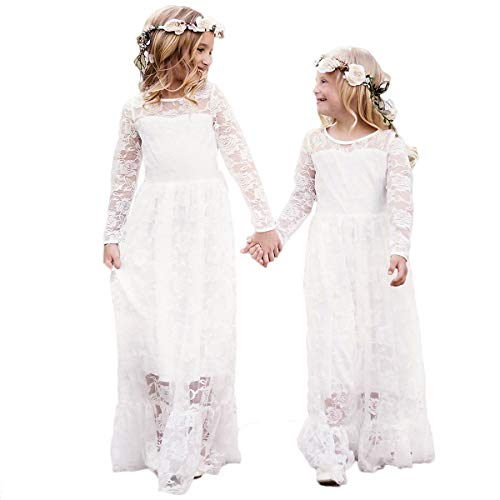 CQDY Ivory Lace Dress for Girls Party Dress with Big Bow Long Sleeved Tulle (Ivory, 2-3)