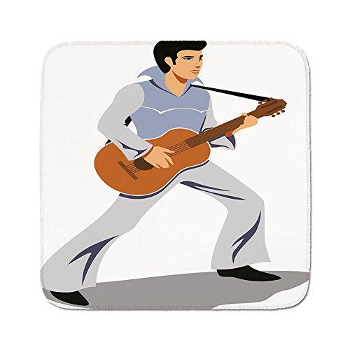 - Cozy Seat Protector Pads Cushion Area Rug,Elvis Presley Decor,Musician Artist Guitar Instrument Rock and Sound Cartoon,Light Blue Brown Black,Easy to Use on Any Surface