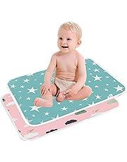 SunTop 2 st skötmattor för baby, bärbar babybytesdyna, tvättbar bomullsblöjmatta vattentät lakan vikbar blöja nyfödda och spädbarn foder sängdynor, 50 x 70 cm lakan sängkuddar