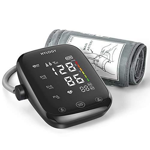 Blood Pressure Monitor Upper Arm, HYLOGY Blood Pressure Machine with Large LED Touch Screen and Voice Broadcast, Adjustable Blood Pressure Cuff with 2-Users 180-Reading Memories Support Type-C Charge