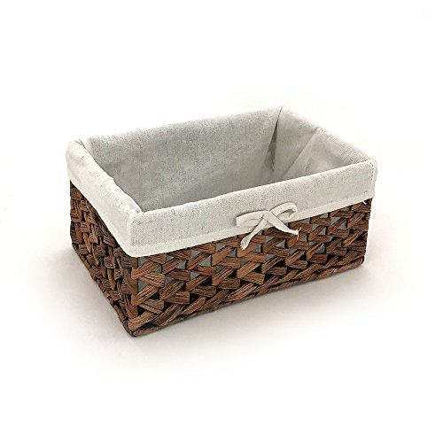 KINGWILLOW Rectangular Woven Seagrass Storage Bins with Handle, (water hyacinth, Small)