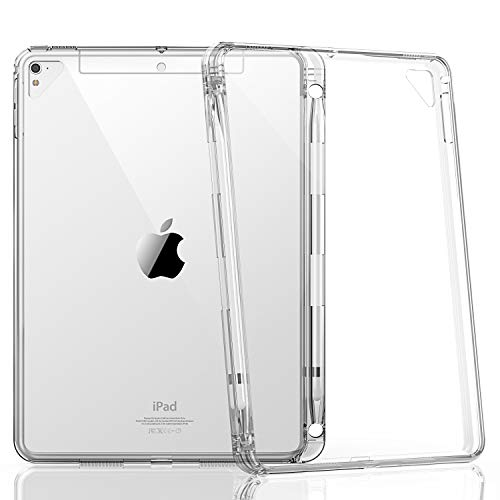 HBorna iPad 9.7 inch Case for iPad 2018/2017 / Pro 9.7 / Air 2 / Air Model, Lightweight and Soft TPU Back Case Cover [with Pencil Holder] for Apple iPad 9,7 Model,Transparent