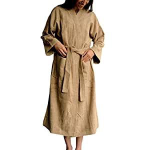 Organic Bamboo Terry Spa Bath Robe by SHOO-FOO | Kymono Style | Unisex | 70% bamboo 30% cotton (large, latte brown)