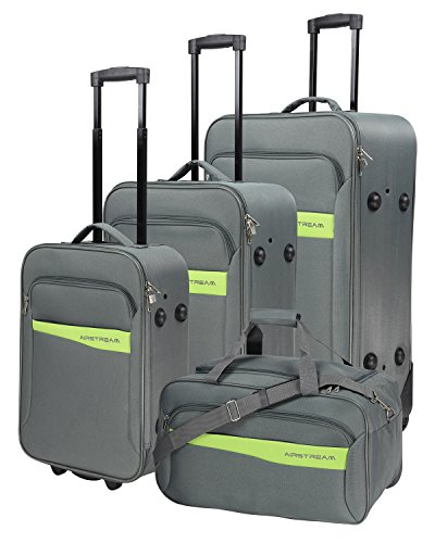 Stoff Koffer Reiseset Airstream 4tlg Farbe grau limetteTrolley Tasche Case Fa. Bowatex