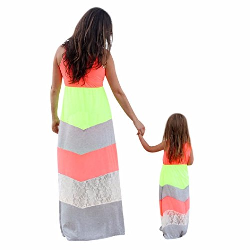 Misaky Mother and Daughter Lace Stripe Stitching Dress Casual Family Dress (XXL, (Mother Daughter Costumes)