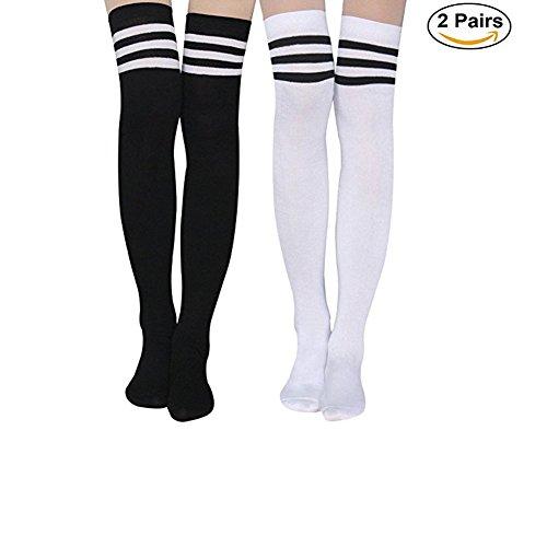 Aispark Womens Knee High Socks Girls Long Striped Over the Knee Thigh High Stockings Cosplay Socks (Black&White)