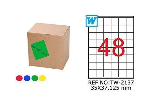 TANEX TW-2137 farbige Etiketten grün 35 x 37,125 mm -eckig- 25 Bl. A4