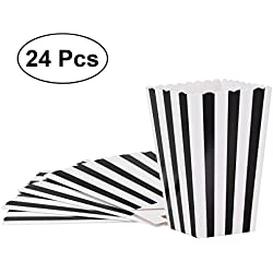 NUOLUX 24pcs Popcorn Boxes Containers Cartons Paper Popcorn Bags White Black Stripe Box