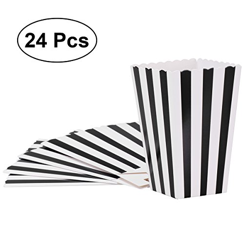 Popcorn Boxes,Candy Containers Paper Stripe Box for Movie Party Favor,24pcs,Black