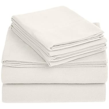 AmazonBasics Solid Lightweight Flannel Sheet Set - King, Cream