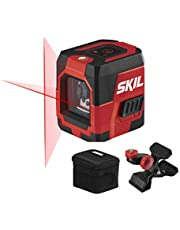 SKIL 50ft. Red Self-Leveling Cross Line Laser Level with Horizontal and Vertical Lines, Rechargeable Lithium Battery with USB Charging Port, Clamp & Carry Bag Included - LL932301