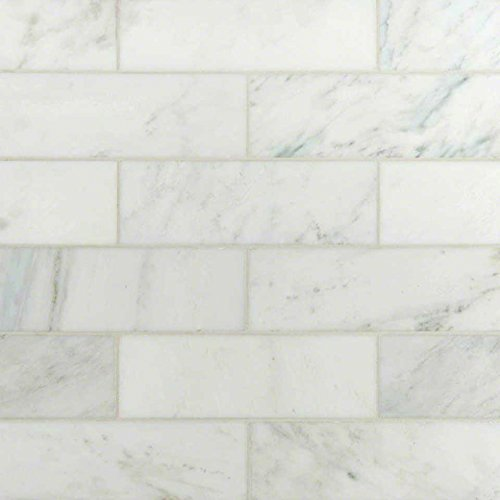 4 in.x 12 in.Carrara White Polished Marble Tile