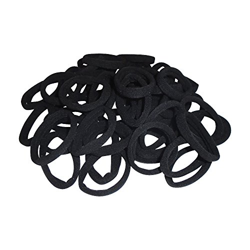 Elastic Hair Bands. Elastic Ties for Girls, Boys, Kids, Women, Men - No Crease Ponytail Holders No Aches Durable Hair Ties 4.5 cm (1.8 In) Medium Size. 100 Pcs Multi Colors. (Black)
