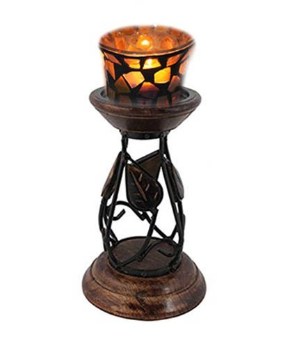 Handcrafted Wooden Candle Stand for Table Desk, With Iron Rod Round Design Candle Stand, Pillar Candle Holder for Wedding, Party, Home, Spa, Reiki, Aromatherapy 8 X 5 Inch by WhopperIndia
