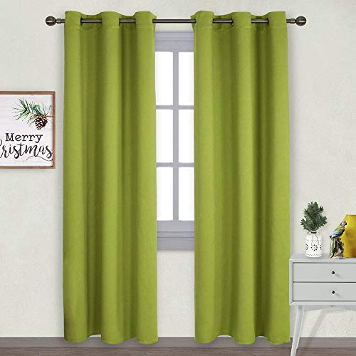 NICETOWN Window Treatment Thermal Insulated Solid Grommet Blackout Curtains/Drapes for Christmas Bedroom (2-Pack,42 by 84 Long, Fresh Green) (Drapery Panels Lime Green)