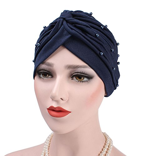 Powerfulline Women Turban Hat Faux Pearl Pleated Muslim Hijab Stretch Cap Chemo Head Scarf (Navy Blue)