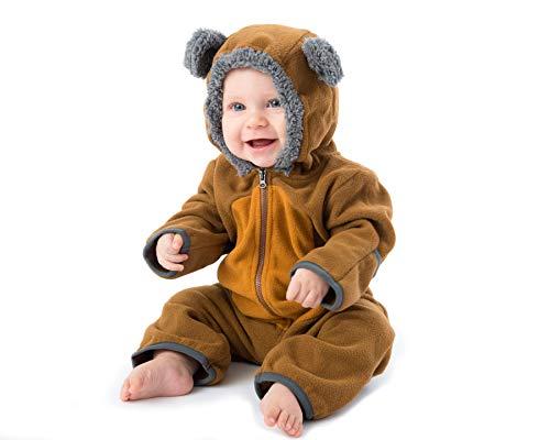 Funzies Baby Bunting Fleece Hooded Romper Bodysuit (BearBrown/Tan12-18m)
