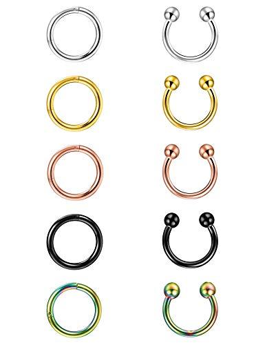 Finrezio 10Pcs 16G Stainless Steel Nose Rings Hoop Lip Nipple Piercing Jewelry Sleeper Earrings Tragus Cartilage Earrings 10mm(16G 10mm Inner Diameter)