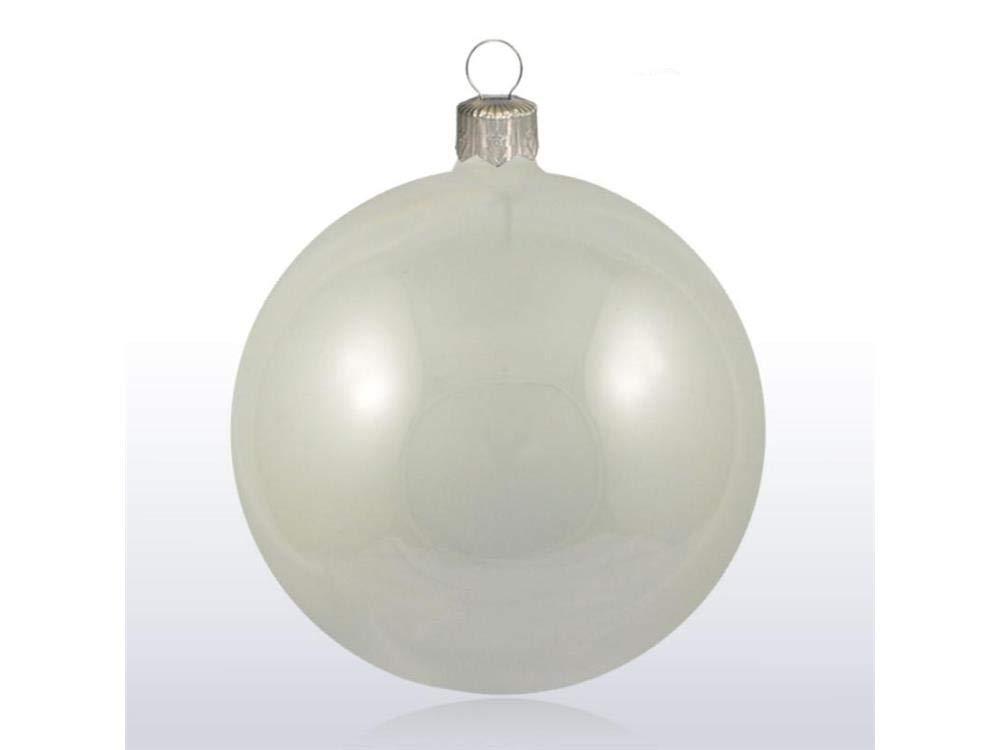 LAVORATE A Mano Palle di Natale Decorazioni Natalizie Confezione da 8 Pezzi Sfere in Vetro 70mm Lucido//Opaco Color Perla 8pz Perla Decorazioni Albero di Natale Diametro: 7cm