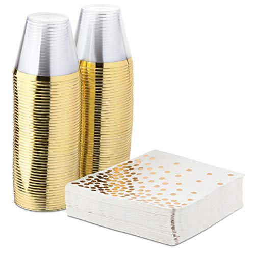 Elegant Gold Rimmed 9 Ounce Clear Plastic Tumblers and Gold Dot Cocktail Napkins - 50 Fancy Disposable Napkins and 50 Cups for Holiday Party, Wedding, Every Occasion (100 Pack) -