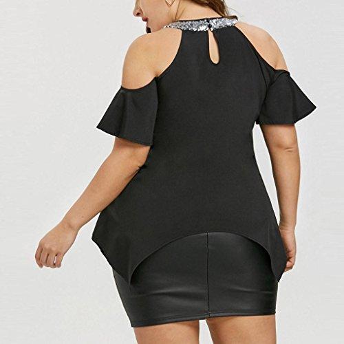 Tops Shirt estiva corte le a donna T maniche per Familizo Elegante Taglie forti Nero donne Camicetta per Camicetta shirt T Donna wnza6