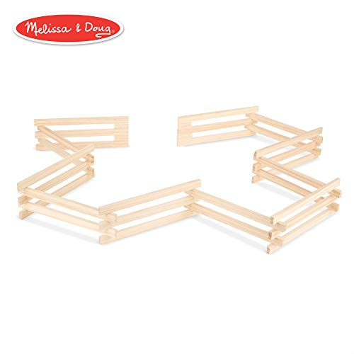 (Melissa & Doug Wooden Horse Corral Fence - 11 Folding Sections (3.5 inches high, 9 feet long))