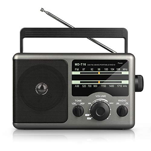 AM FM Portable Radio Transistor Radio with 3.5mm Earphone Jack, Hight/Low Tone Mode, Big Speaker, AC Power or Battery Operated by 4 D Cell Batteries for Home and Outdoor