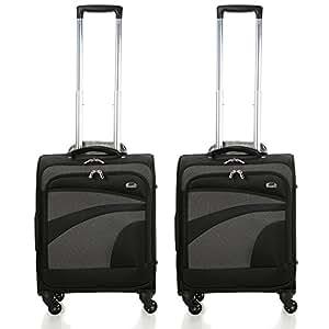 Aerolite 55x40x20 Tamaño Máximo de Ryanair y Vueling Trolley Maleta Equipaje de mano cabina ligera con 4 ruedas, Juego de 2, Negro/Gris