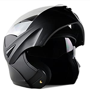 ILM 10 Colors Motorcycle Dual Visor Flip up Modular Full Face Helmet DOT (L, Matte Black)